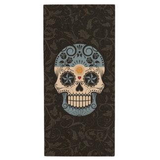 Argentinian Flag Sugar Skull with Roses Wood USB 2.0 Flash Drive