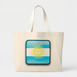 Argentinian glossy flag large tote bag
