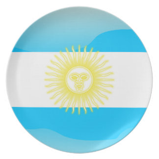 Argentinian glossy flag party plates
