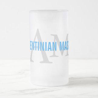 Argentinian Mastiff Breed Monogram Design Frosted Glass Mug