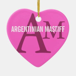 Argentinian Mastiff Monogram Design Ceramic Heart Decoration