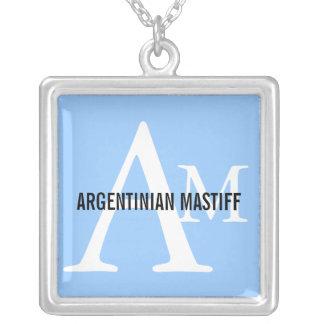 Argentinian Mastiff Monogram Design Square Pendant Necklace