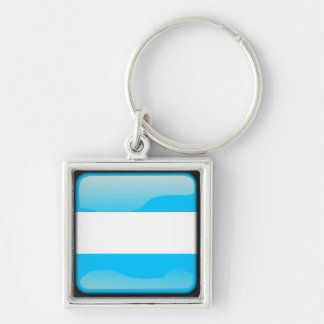 Argentinian polished Silver-Colored square key ring
