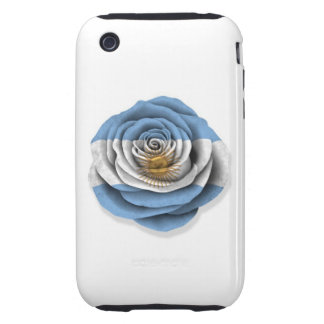Argentinian Rose Flag on White iPhone 3 Tough Covers