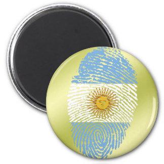 Argentinian touch fingerprint flag 6 cm round magnet