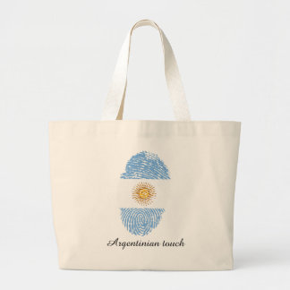 Argentinian touch fingerprint flag large tote bag