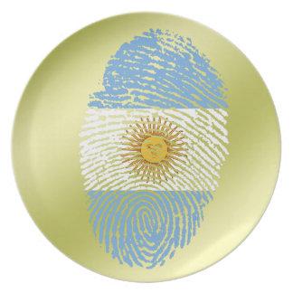 Argentinian touch fingerprint flag party plate