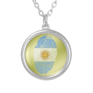 Argentinian touch fingerprint flag round pendant necklace