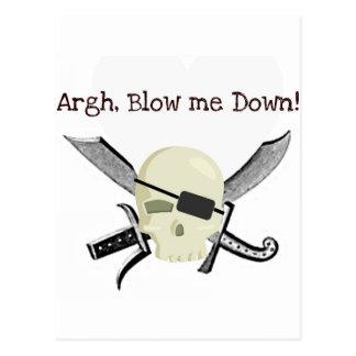 ARGH BLOW ME DOWN PIRATE PRINT POSTCARD