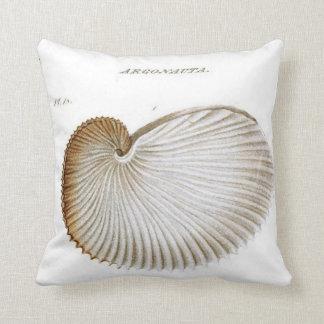 Argonauta Seashell/Beach/Nautical Throw Pillow