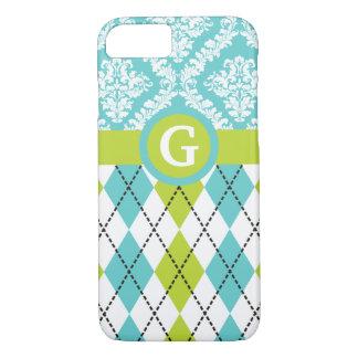 Argyle and damask pattern green, aqua monogram iPhone 7 case