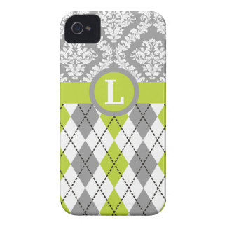 Argyle and damask pattern green, grey monogram iPhone 4 Case-Mate cases