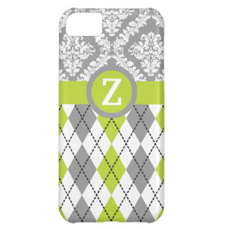 Argyle and damask pattern green, grey monogram iPhone 5C case