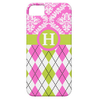 Argyle and damask pattern green, pink monogram barely there iPhone 5 case