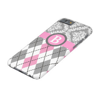 Argyle and damask pattern pink, grey monogram barely there iPhone 6 case