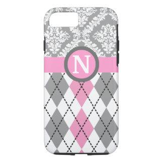 Argyle and damask pattern pink, grey monogram iPhone 7 case