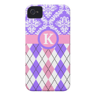 Argyle and damask pattern pink, purple monogram iPhone 4 Case-Mate cases