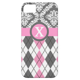 Argyle and damask pattern pink, yellow monogram iPhone 5 covers
