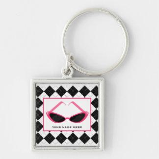 Argyle And Retro Pink Sunglasses Keychains