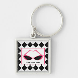 Argyle And Retro Pink Sunglasses Silver-Colored Square Key Ring