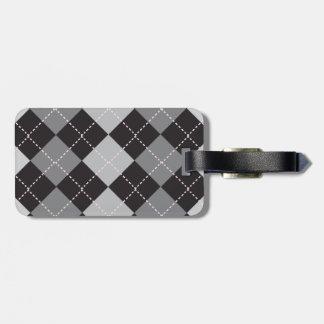 Argyle Black and Grey Bag Tag