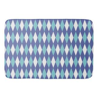 Argyle Blue Aqua White Diamond Pattern Bath Mats