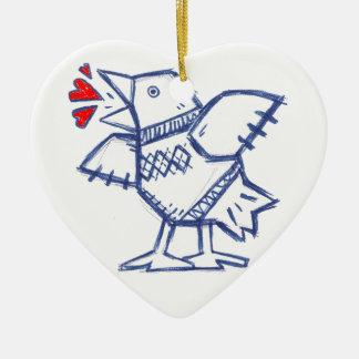 Argyle Blue Bird Ceramic Heart Decoration
