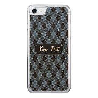 Argyle Blue Black White Stripes Diamond Carved iPhone 8/7 Case