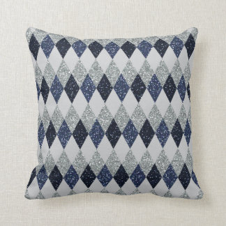 Argyle Blues Silver Shimmer Faux Glitter - All Opt Cushion