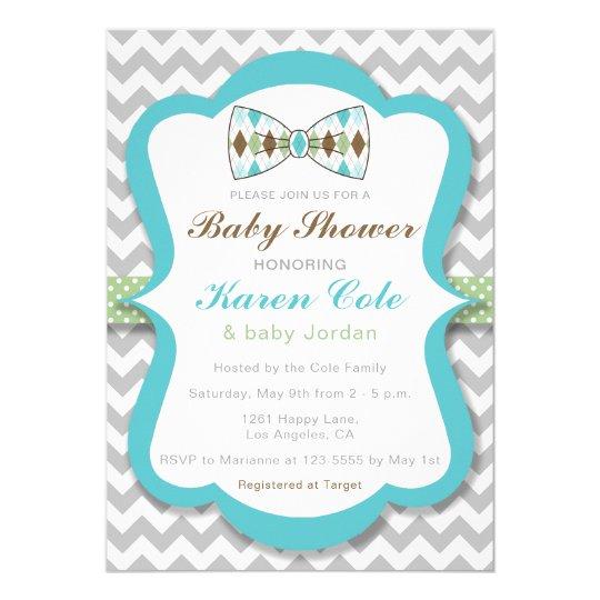 Argyle Bow Tie Boy Baby Shower Invitation