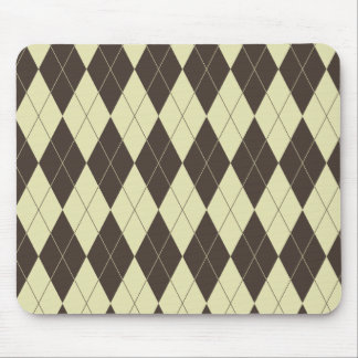 Argyle Brown and White Cream Mouse Pad
