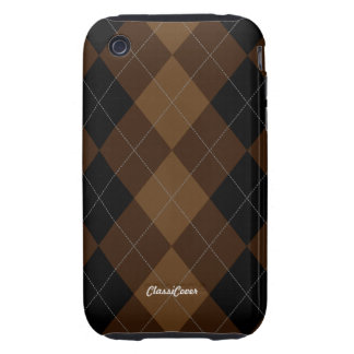 Argyle Brown Pattern Case Mate Tough iPhone 3 Cases