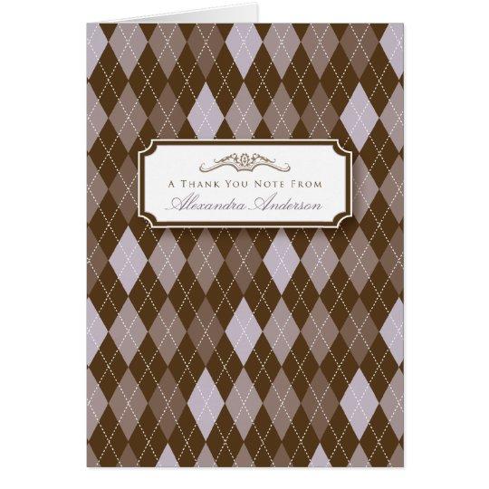 Argyle Custom Thank You Card (lilac/chocolate)