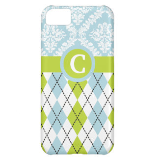 Argyle & damask pattern green, pale blue monogram iPhone 5C case