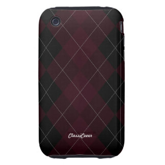 Argyle Deep Red Case Mate Tough iPhone 3 Covers