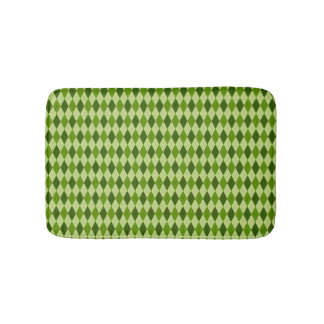 Argyle Diamond Plaid in Shades of Lighter Green Bath Mat