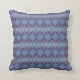 Argyle Diamond Plaid Pattern in Blue and Purple Cushion