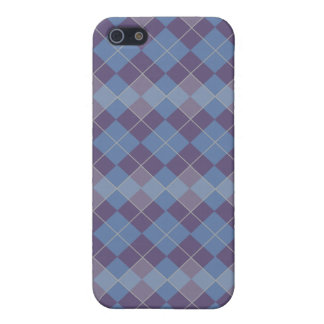 Argyle Diamond Plaid Pattern in Blue and Purple iPhone 5 Cover