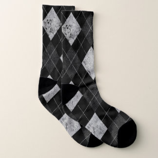 Argyle Distressed Monochrome preppy pattern 80s Socks
