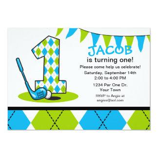 Argyle Golf 1st Birthday Card