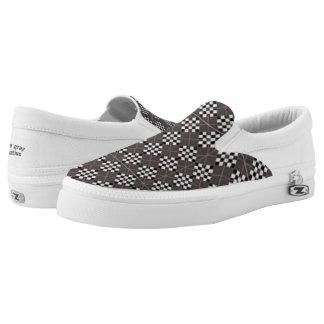 Argyle gray black slip on shoes