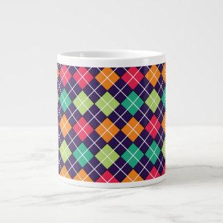 Argyle Green Teal Pink Orange Large Coffee Mug