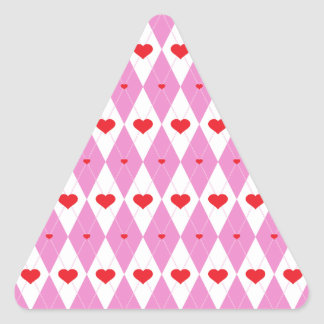 Argyle Heart Pattern Light Triangle Stickers