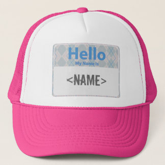 Argyle Hello My Name is, <NAME> Trucker Hat