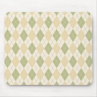 Argyle in Sage, sandalwood, Cream Mouse Mat