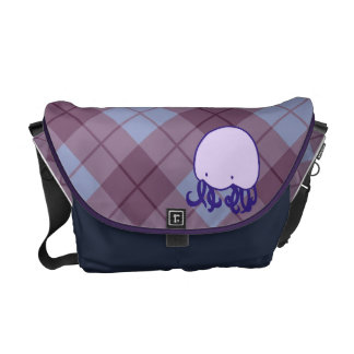 Argyle Jellyfish Messenger Bag - Purple