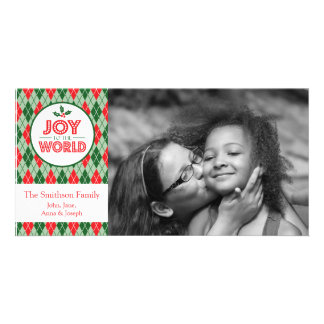 Argyle Joy To The World Christmas Picture Personalized Photo Card