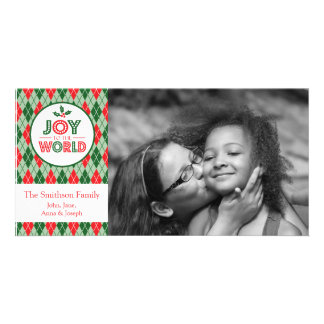 Argyle Joy To The World Christmas Picture Photo Greeting Card