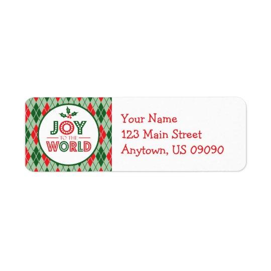 Argyle Joy To The World Christmas Return Address