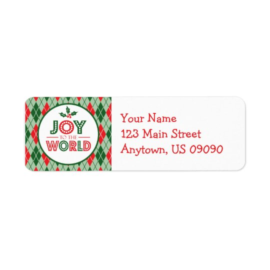 Argyle Joy To The World Christmas Return Address Return Address Label